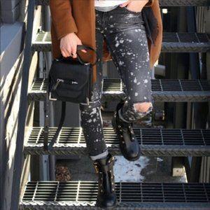 Zara Black Grey Bleach Splatter Skinny Jeans Slim